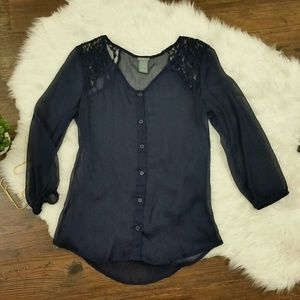 Charlotte Russe sheer blue blouse size small
